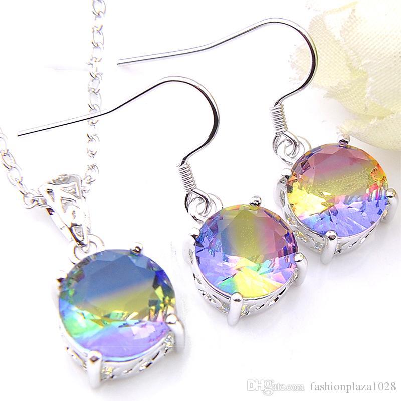 Luckyshine 925 collana in argento per le donne Pendenti Orecchini Set di natale Capodanno Gift Set rotonda Arcobaleno Bi colorato Tourmaline