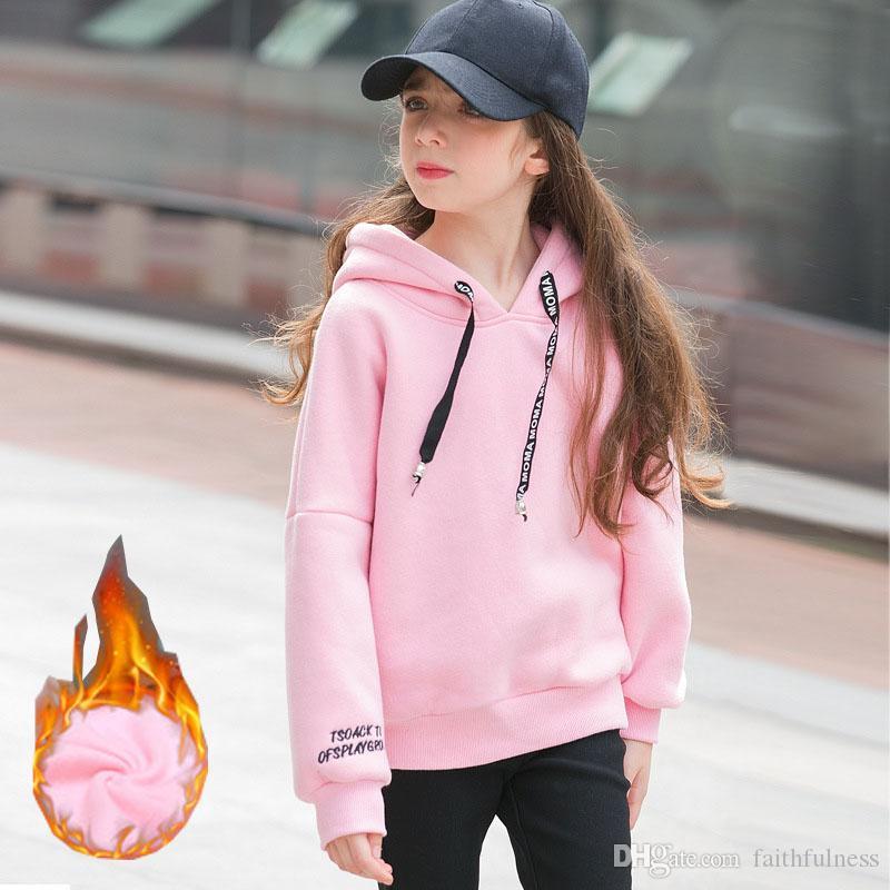 Niñas camiseta de los niños sudaderas con capucha de lana gruesas del invierno del otoño de las muchachas ropa deportiva suéter Niños de disfraces de chicas Equipos