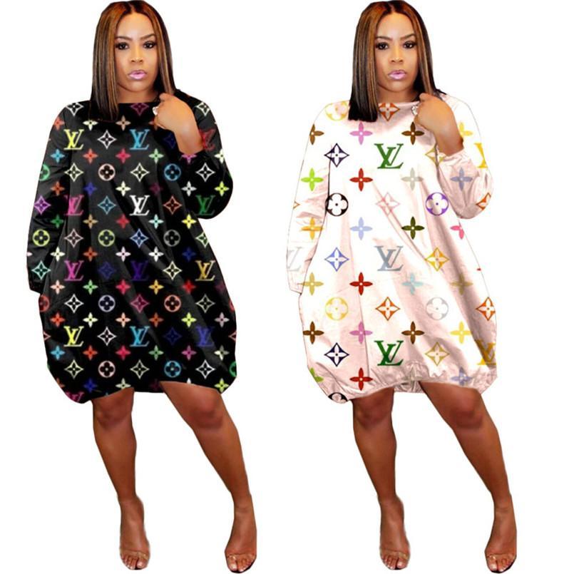 Las mujeres floja ocasional de una sola pieza moda jersey vestido de manga larga vestido de letra de la impresión atractiva del vestido de la falda, más moda otoño de 2020 tamaño de la ropa