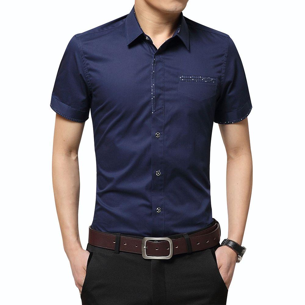 2020 Summer New Men's Shirt Brand Luxury Men Cotton Short Sleeves Dress Shirt Turn-down Collar Cardigan Shirt Men Clothes T200528