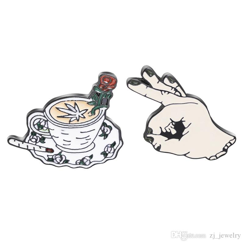 Enamel pins set Coffee cup Rose Flower cup Pin back hand button Coffee jewelry Kawaii brooch for girls