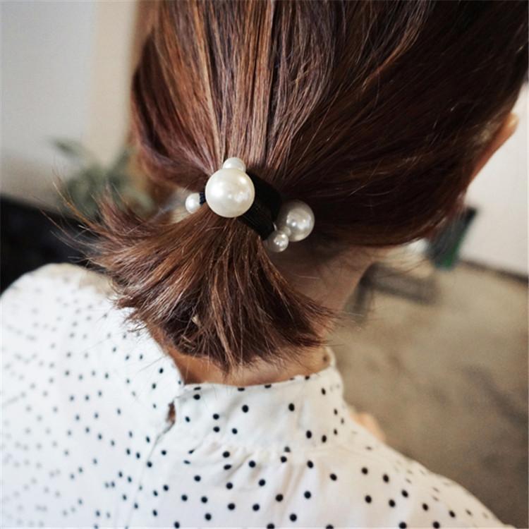 Японский Корейский Versitile Мода простой Размер Pearl волос кольцо диапазона волос корейский стиль Нет Швы шариков фрикадельки Head Hairband