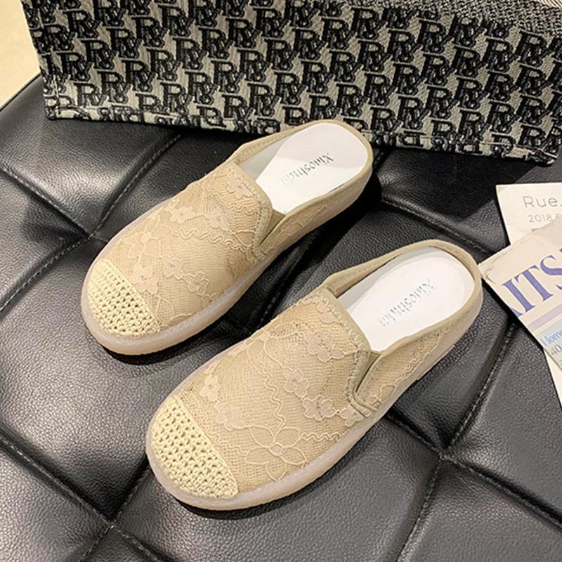 Schuhe Mode Wohnungen Frau Schuhe Neue Spitze Frauen Sommer Slip-on Atmungsaktive Schuhe Damen Casual YX2379 RLQFN