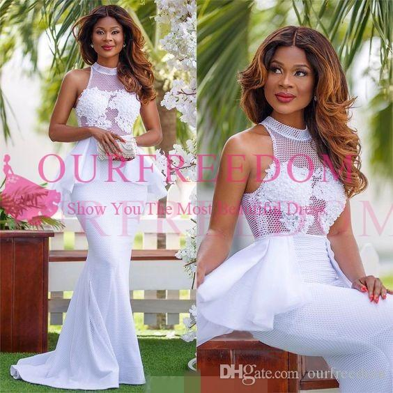2020 New Nigerian Style High Neck Mermaid Wedding Dresses Lace Appliques Peplum Waist Rustic South Africa Bridal Gown Custom Made