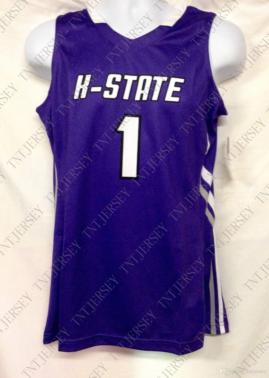 Дешевые пользовательские K-State Mens Basketball Джерси # 1 прошитой Customize любое имя номер MEN WOMEN МОЛОДЕЖНЫЙ XS-5XL