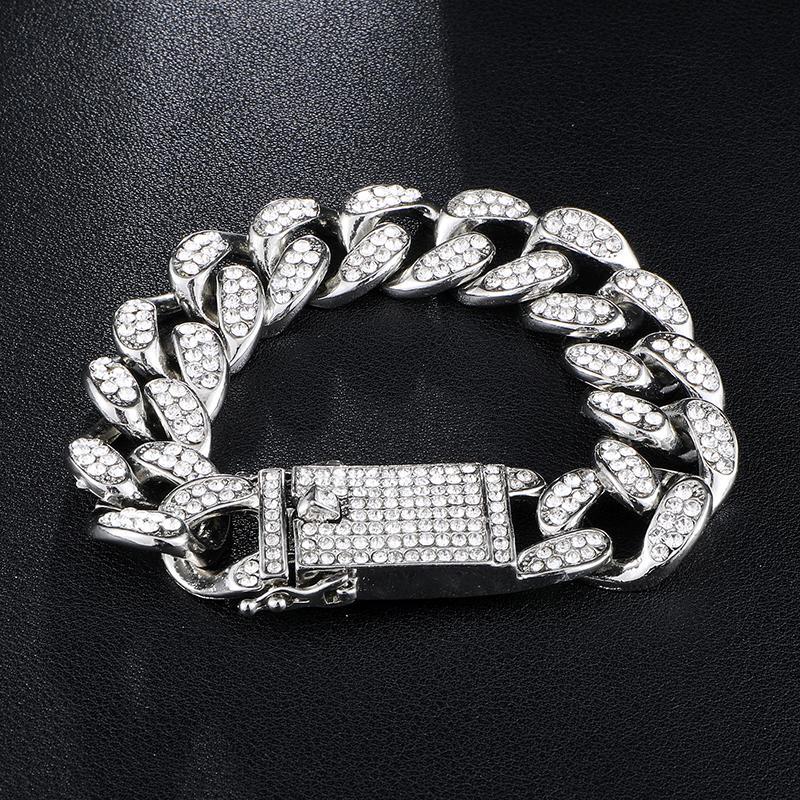 20 milímetros 7/8/9 / 10inches Hip Hop Gold Silver Simulado bracelete de diamantes para fora congelado Miami cubanos Fazer a ligação Pulseiras