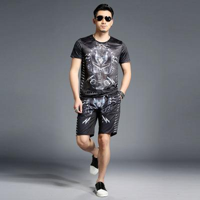 Men's Designer Casual Suits Summer Personality Printing T-shirt Trend Five Minutes Pants Round Neck Shirt Baggy Shorts Fashion Two-piece