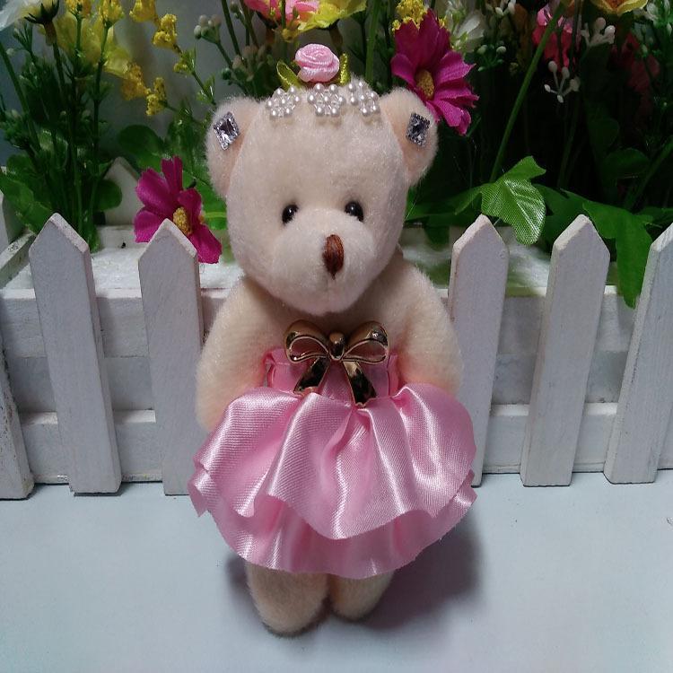 12cm Cute Teddy Bear Plush Dolls Keychain Baby Girls Toys Birthday Decoration Christmas Gift Wedding Bouquet