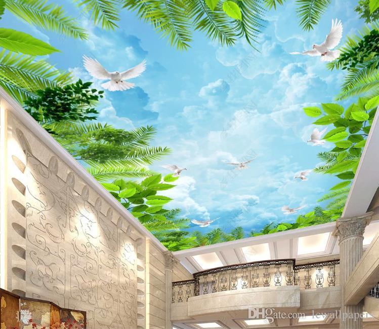 Fondos de pantalla personalizados de techo grande de techo mural del papel pintado 3D Fairytale fantasía del bosque cielo nubes imagen salón Mural