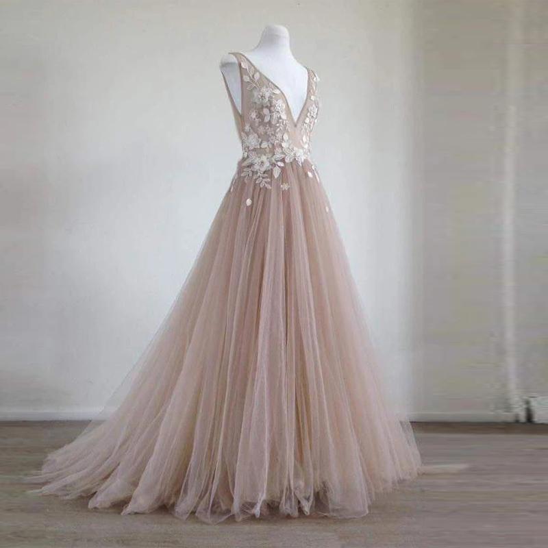 Vestiti floreali A-Line tulle nude ballo con pizzo applique 3D fiori eleganti abiti da sera a V Indietro sera convenzionale degli abiti di Vestido De Festa
