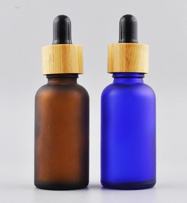 1 oz damlalık ile 30 ml cam şişeler uçucu yağ şişeleri don siyah / temizle / amber / mavi / yeşil ile bambu damlalık kap e sıvı şişe