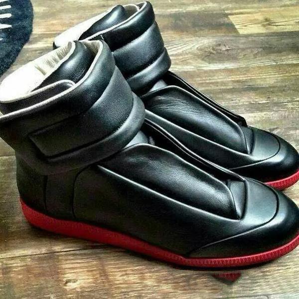 erkekler eğitmenleri daire ayakkabı erkekler yarım bot yukarı Sıcak Satış-moda hakiki deri yüksek top erkek ayakkabı rahat dantel