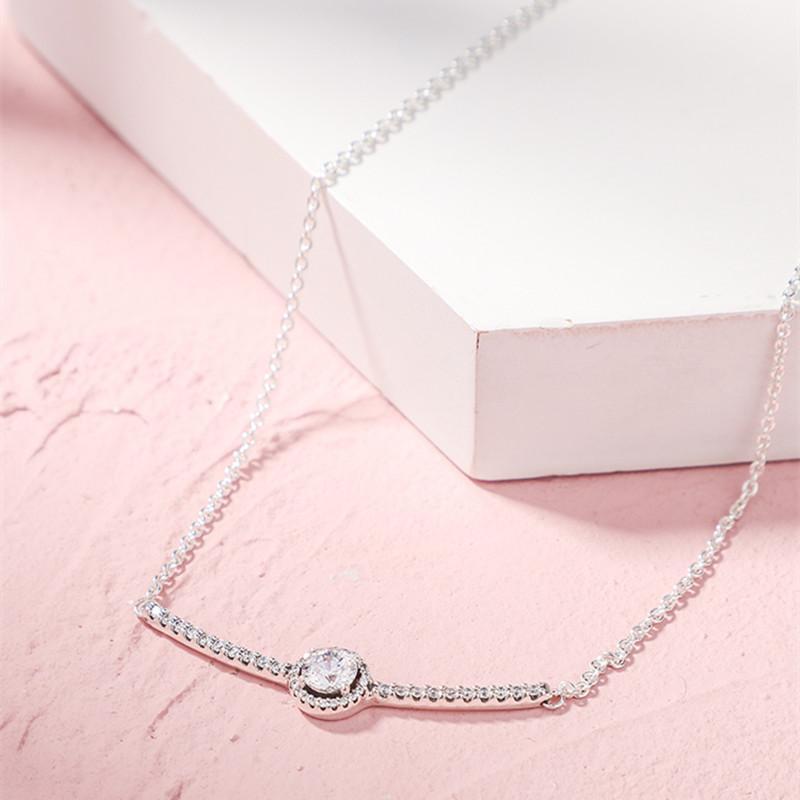 2019 Winter-Weihnachtsgeschenk Runde Sekt Bar Halskette 925 Sterling Silber Schmuck Kette Halskette für Frauen Silber 925 Schmuck