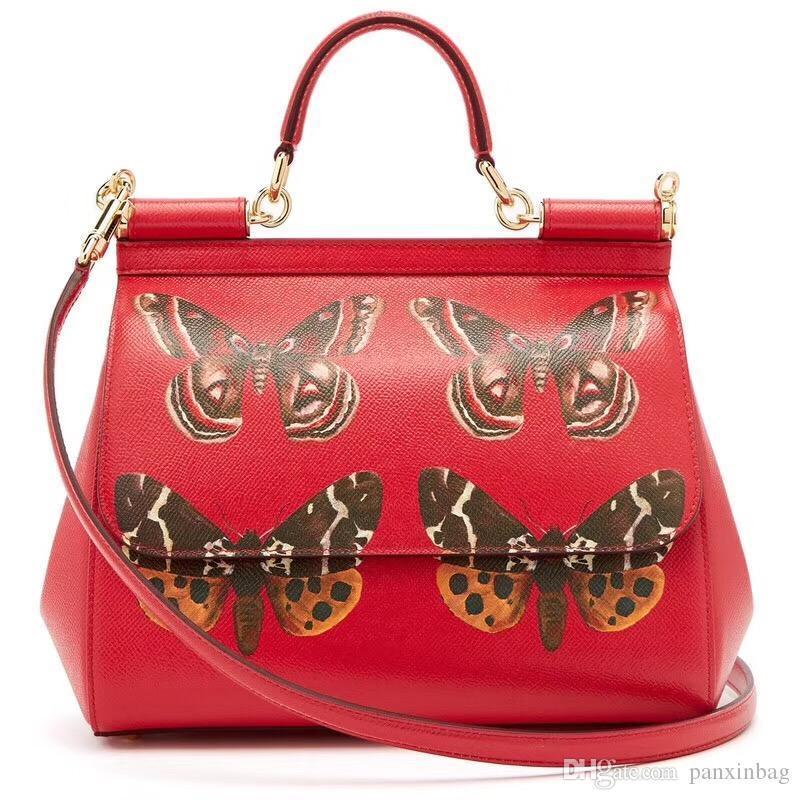 Papillon 2018 nouveau cuir rouge oblique, la personnalité, la mode, sac à main, sac à main, sac femmes.