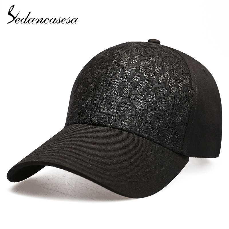 Berretto da baseball Sedancasesa Marca per l'estate Lace delle donne della ragazza cotone Visiera Beach regolabile Solid Mesh Hat Snapback