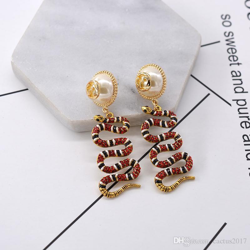 Luxury designer snake diamond studs for women rhinestone snake animal earrings pendant womens accesscires pearl flower earrings D50