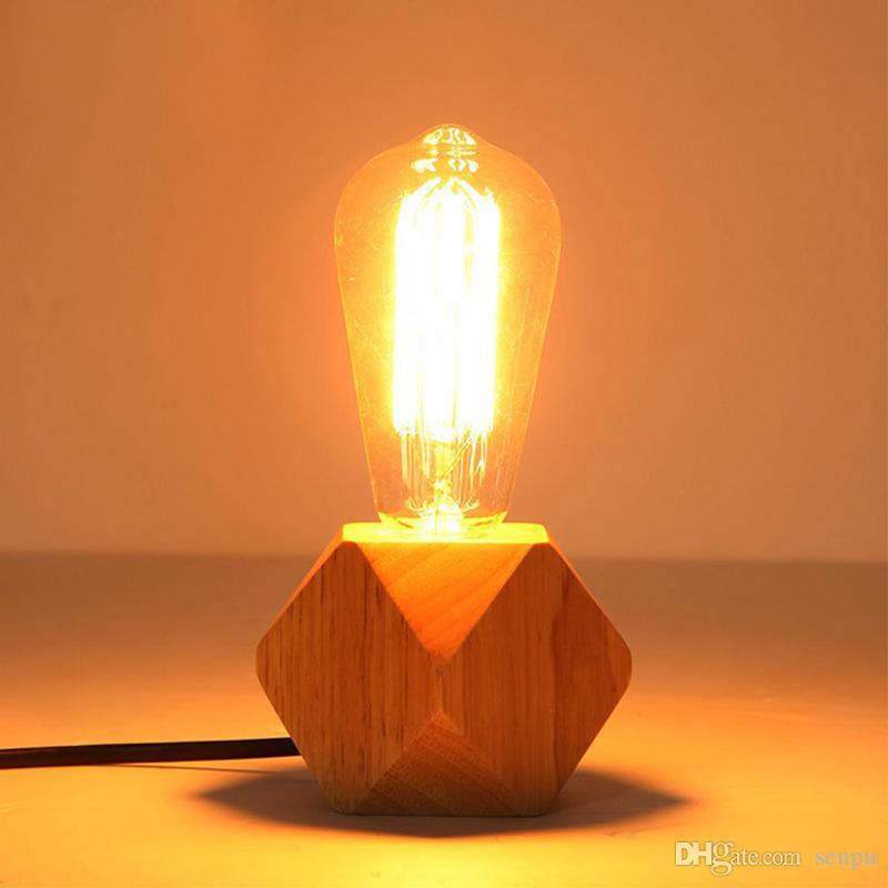 홈 / 침실 / 거실 장식 EU 플러그 나무 자료에 대한 현대 테이블 램프 E27 나무 책상 램프 다이아몬드 침대 옆 램프