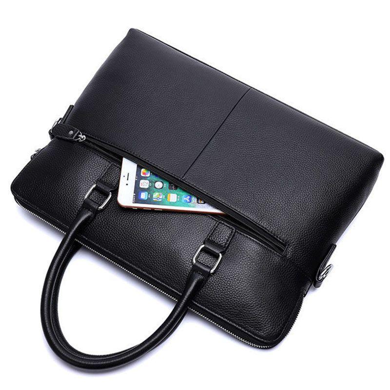 Мужчины Бизнес Real Leather Briefcase 14 «Сумочка Crossbody сумка Мужской высокого качества Crossbody / мешок плеча