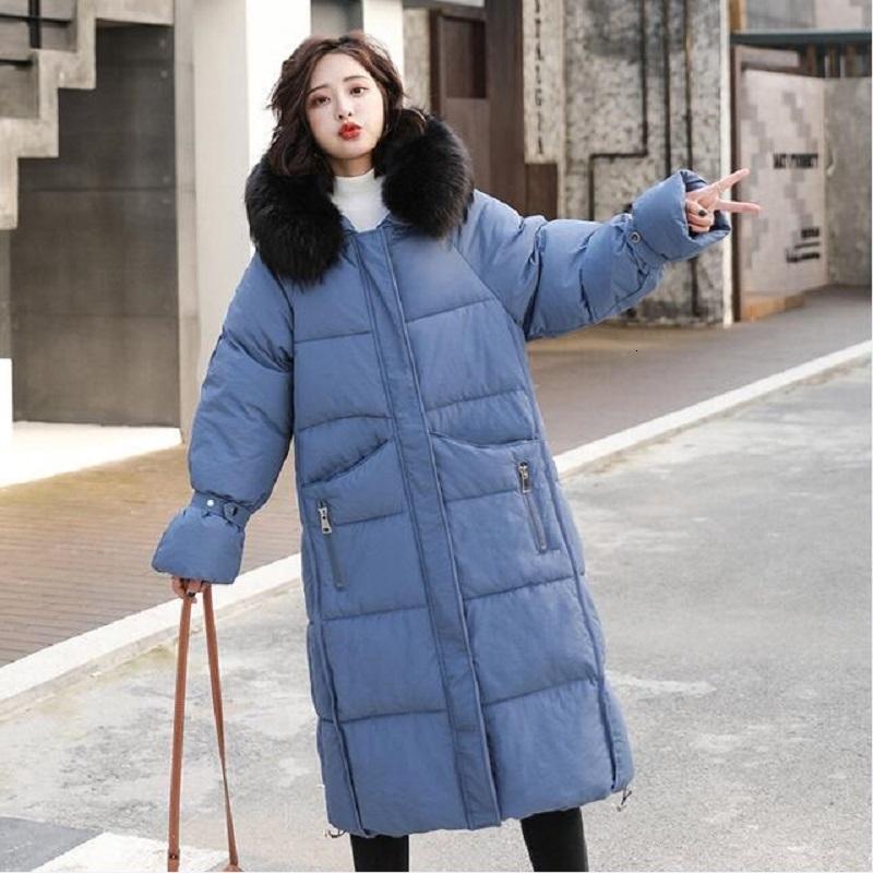 Chaqueta femenina 2019 Nueva Versión Coreana De Mujer de la capa del sombrero del invierno largo de la Mujer de algodón de las mujeres por la chaqueta acolchada T191102 abrigo suelto