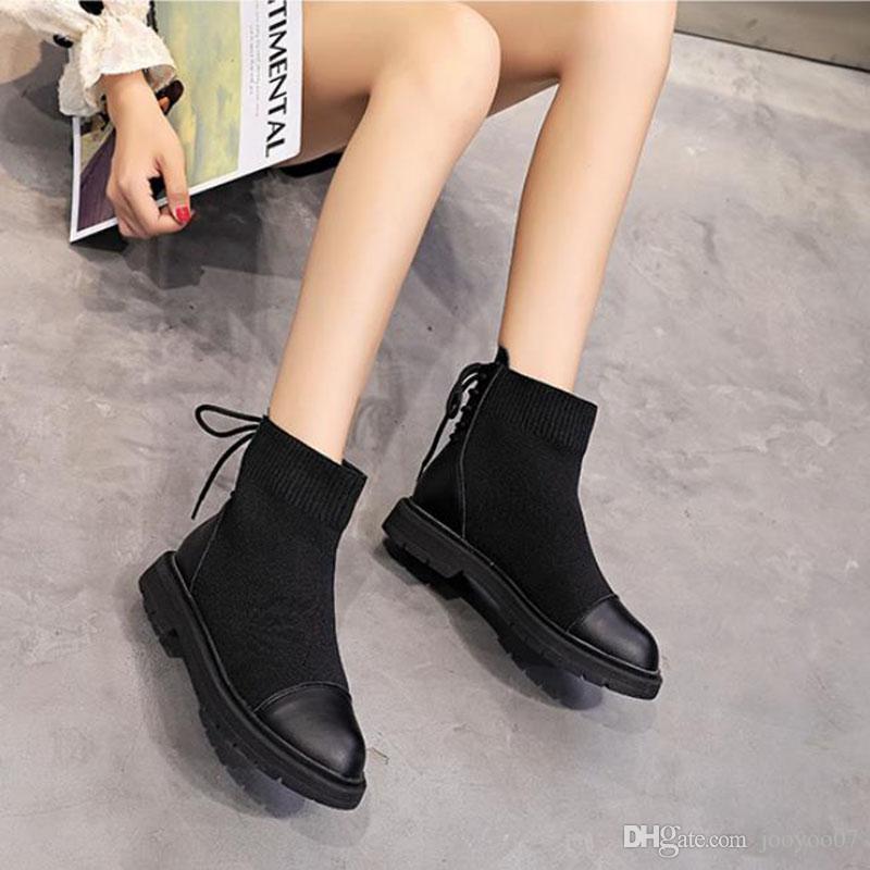 Herbst und Winter arbeiten Schwarz Martin Frauen Stiefel Solid Color Einfache wilde Lace-up-Runde Zehen Low Heel Stiefeletten