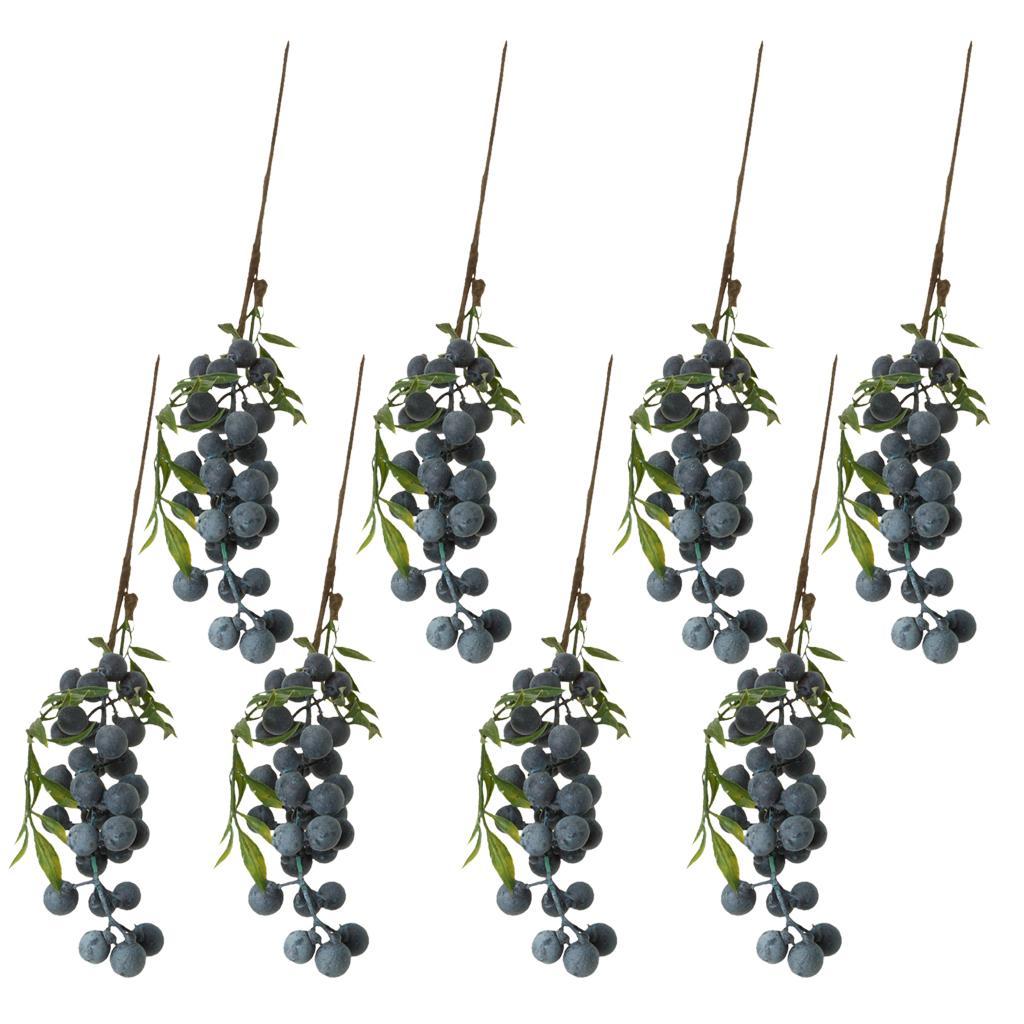 8 Pieces Artificial Lifelike Frutas planta Bagas Ramos Stem Wedding Venue Bouquet Decor Props Blueberry