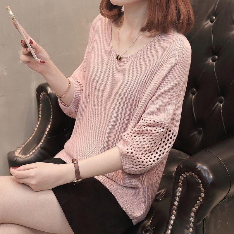 2018 Autunno New Ladies 'Maglione, pullover girocollo versione coreana senza maniche a mezza manica Hollowed-out sottile a maglia