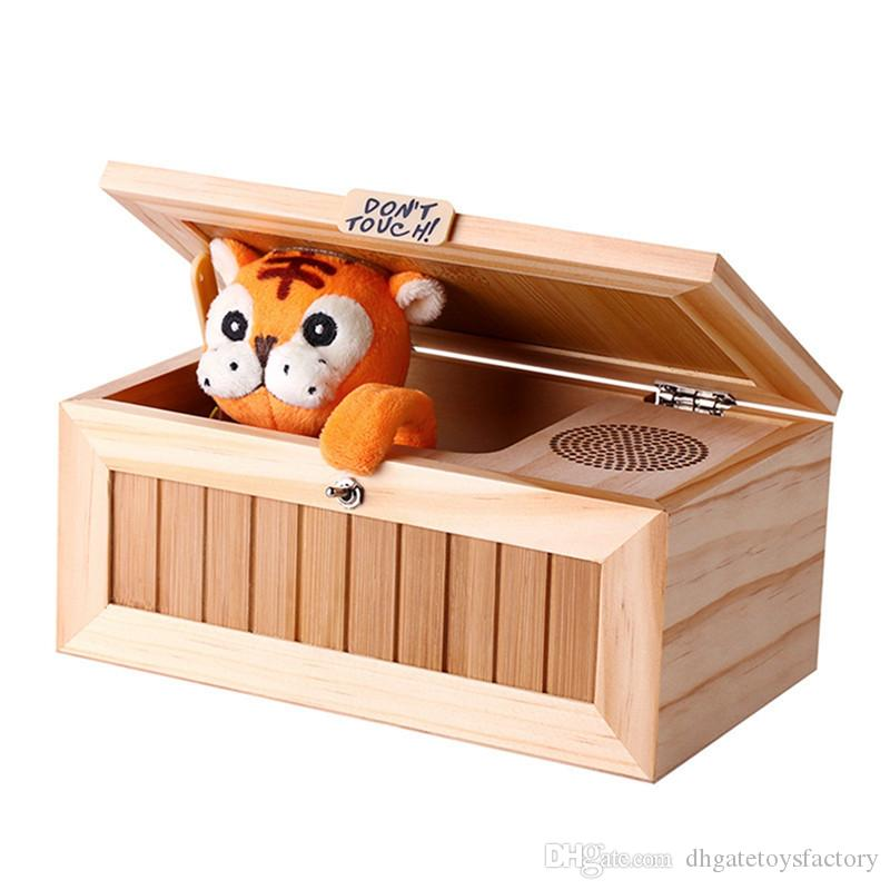 Useless Machine Wooden Useless Box Don't Touch Tiger Toy Gift with Sound Leave Me Alone Box Fashion Interesting Toys