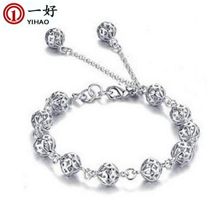 Bracelet coréen de mode Bracelet en argent nouvelle mode boule exquise boule creuse Bracelet