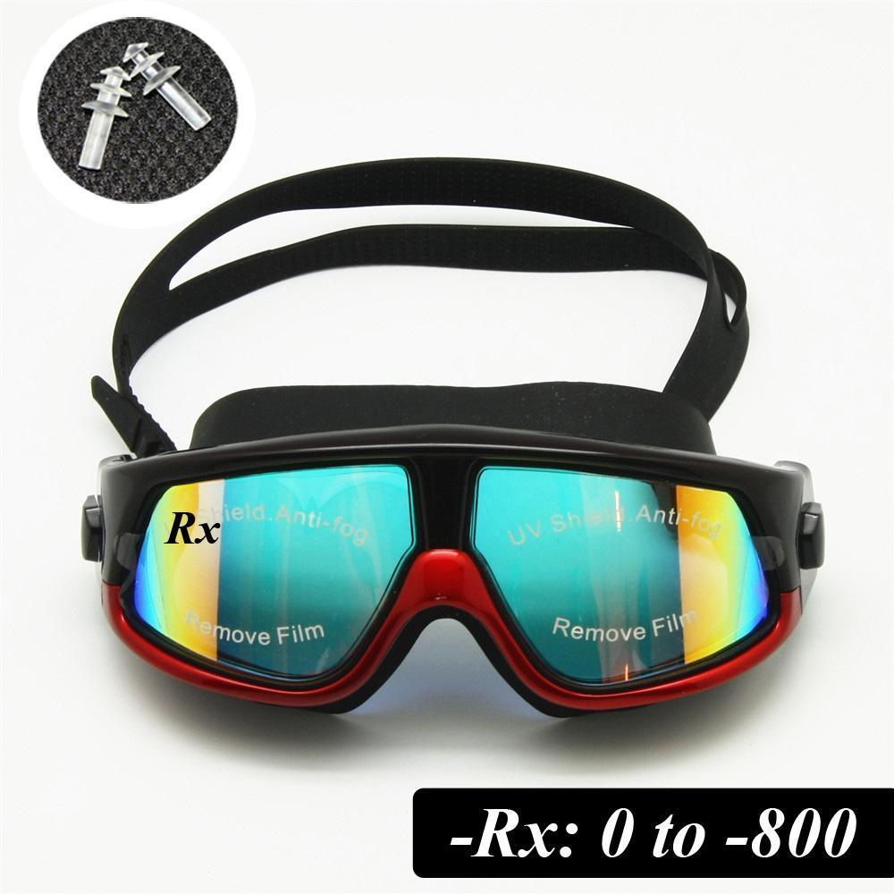 الجملة آر إكس صفة سباحة نظارات قصر النظر بصري نظارات السباحة التصحيحية غص قناع 0 إلى -800 الأذن المقابس مجاني حالة التخزين