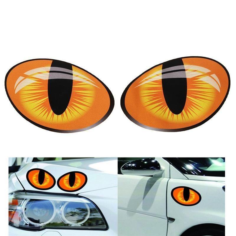 Çifti 3D Komik Yansıtıcı Kedi Gözler Araba Etiketler Kamyon Kafa Motoru Dikiz Aynası Pencere Kapak Kapı Çıkartması Grafik 10 x 8 cm
