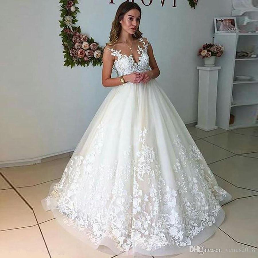 44e6404f539 White Lace Wedding Dresses Sleeveless Appliques Top Sheer Neckline Floor  Length Bridal Gowns k Arabic Wedding ...