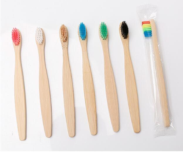 7 Colors Head Bamboo Toothbrush Wholesale Environment Wooden Rainbow Bamboo Toothbrush Oral Care Soft Bristle Free DHL