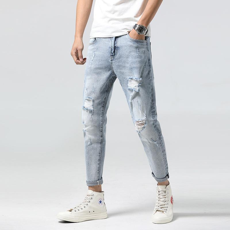 calças de brim 44 Hole-perfurar pequenos pés elegantes calças de brim magros dos homens dos homens esticar luz azul de alta qualidade