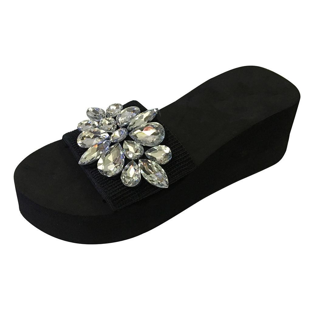 2019 Mujeres Rhinestone Zapatillas de Playa de Verano Zapatos Casuales Niñas Cuñas de Cristal Zapatillas Moda Mocasines Plataforma Mujer Diapositivas Mujeres Pizarra