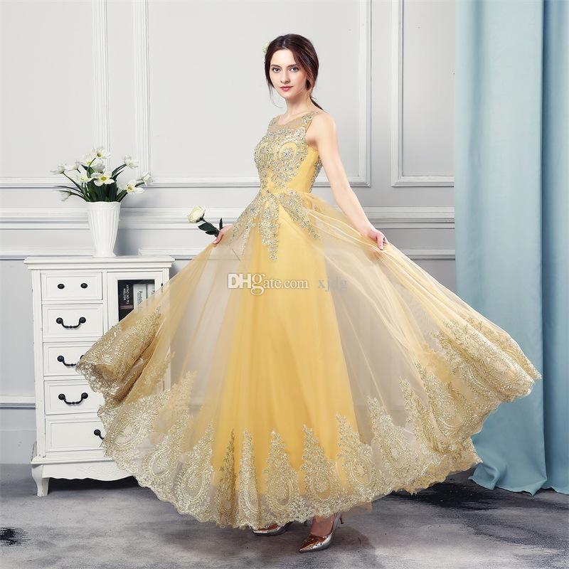 Or Paillettes Arabe Sheer cou Longueur étage ligne A robes de soirée sexy Sans manches Robes de fête Robes de bal usure occasion spéciale