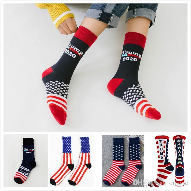 Trump 2020 Çorap Çizgili Yıldız Futbol Çorap Nötr Donald Trump Başkanı Çorap Baskı Parti Hediyeleri DHL Ücretsiz XD22311