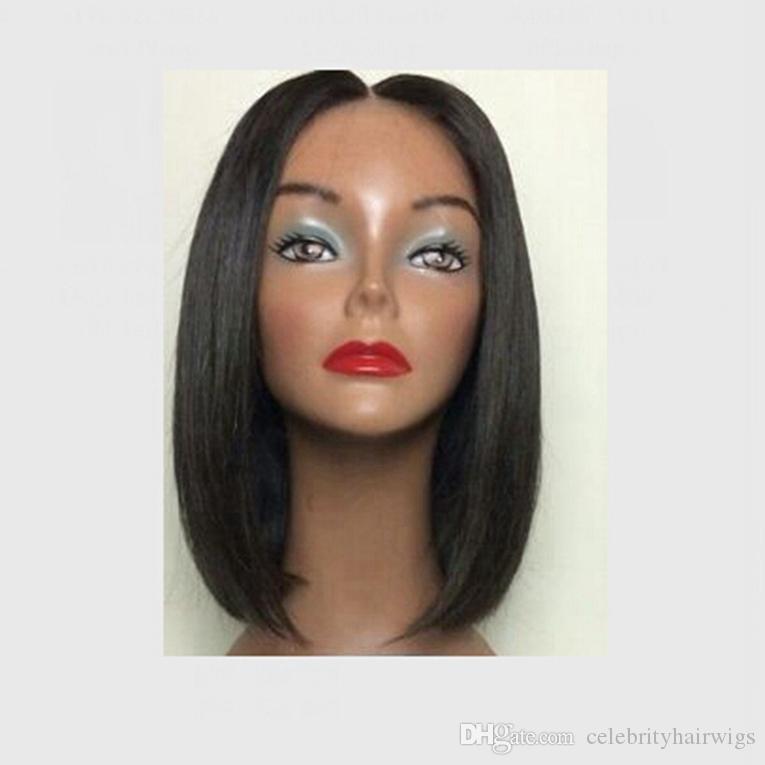 """رخيصة الباروكات قصيرة قص شعر الباروكة بوب الأوسط الجزء 3-4 """"الاصطناعية شريط جبهة لمة الأسود بوب كاملة قصيرة الباروكات للنساء السود"""