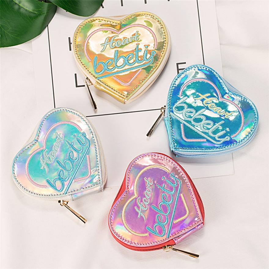 Coin Purse Women heart shapes Laser Leather Zipper Handbag Clutch Bags Phone Bag