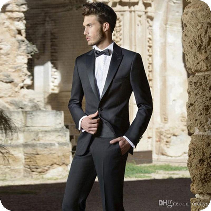 Italiana Black Men ternos do noivo do casamento do smoking 2piece (Brasão + Pants) Groomsmen Outfit cetim repicado lapela Man BlazerCostume Homme trajes de hombre