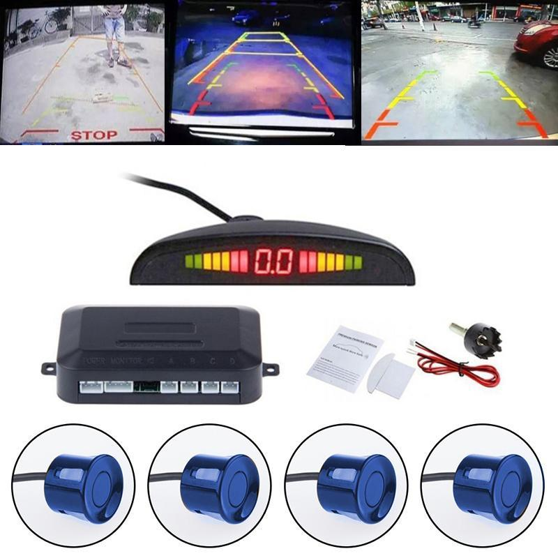 Car Led Parking Sensor 4 Sensors 12v Cars Sensor Reverse Assistance Backup Monitor System Car Parking Kit Led Display 5 Colors