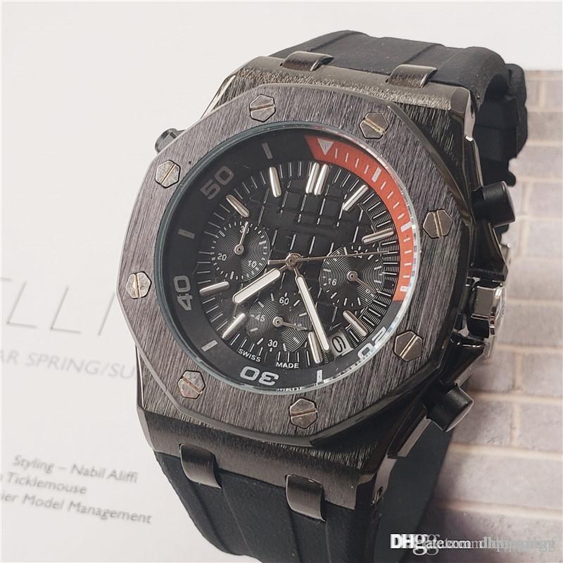 2020 Новая мода роскошные мужские часы sub Dials работа Audemars P силиконовый ремешок швейцарские часы многофункциональный календарь часы montres pour hommes