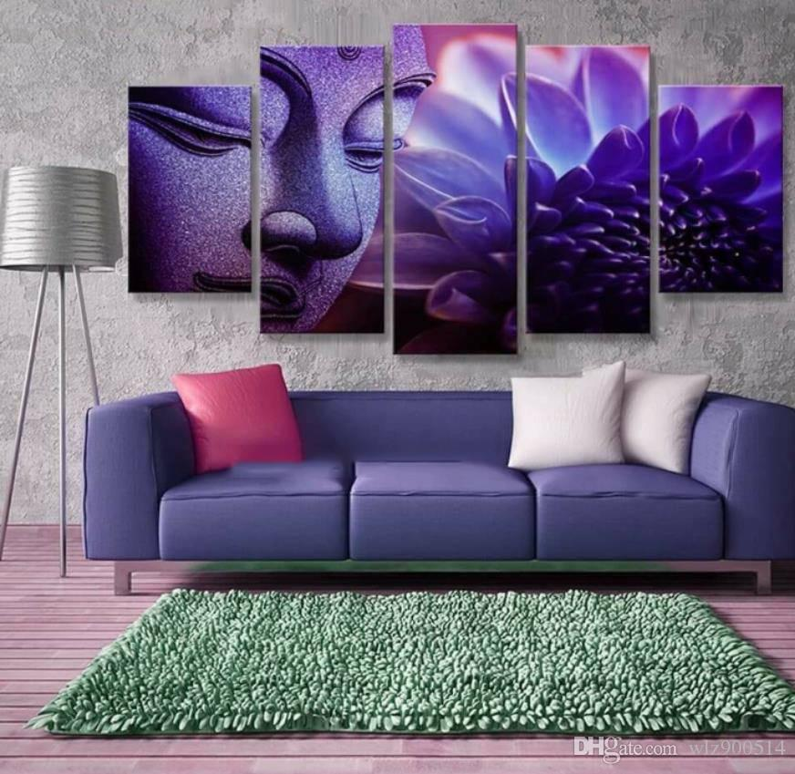 Canvas Posters Wall Art HD Prints Pictures 5 Pieces Buddha Head Portrait Purple Lotus Paintings Living Room Home Decor No Frame