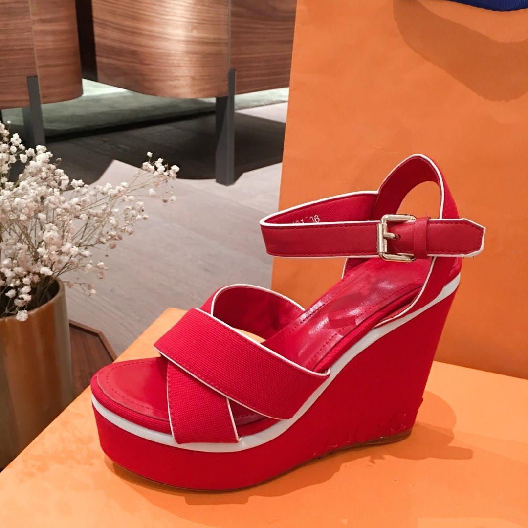 2020 Wedge sandalias de cuña zapatos de la sandalia de diseño de lujo de las mujeres de las sandalias de la manera de las mujeres zapatos de tacón alto Tamaño 35-41