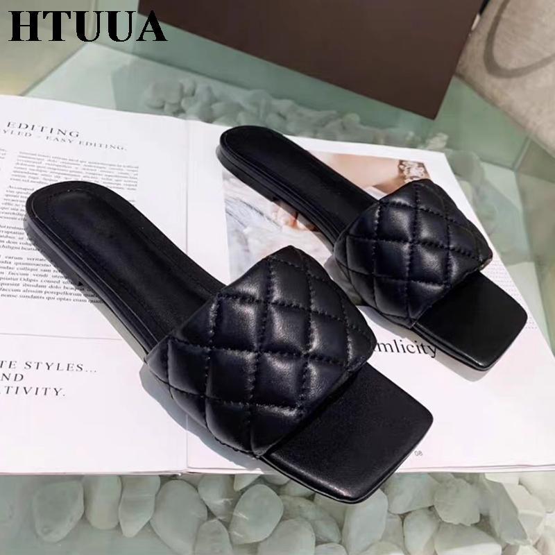 Hotuua мода женщин тапочки квадратный носок открытый плоский слайды лето сандалии открытый носок пляж флип флопса женская обувь SX3894
