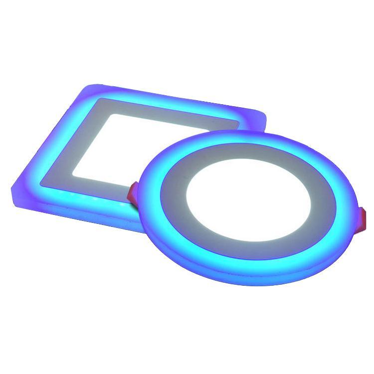 PANEL luces Ultra delgado 9 W 16 w 24 W redondo oculto doble Color LED Panel lámpara blanco frío + azul/rojo/rosa/verde luces de techo Downlight