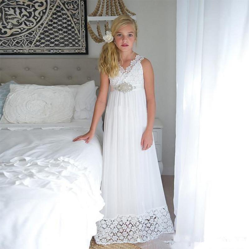 2019 Simple White chiffon renda Flor Meninas Vestidos Santo Primeira Comunhão Vestidos Meninas Batizado Vestido formal baratos