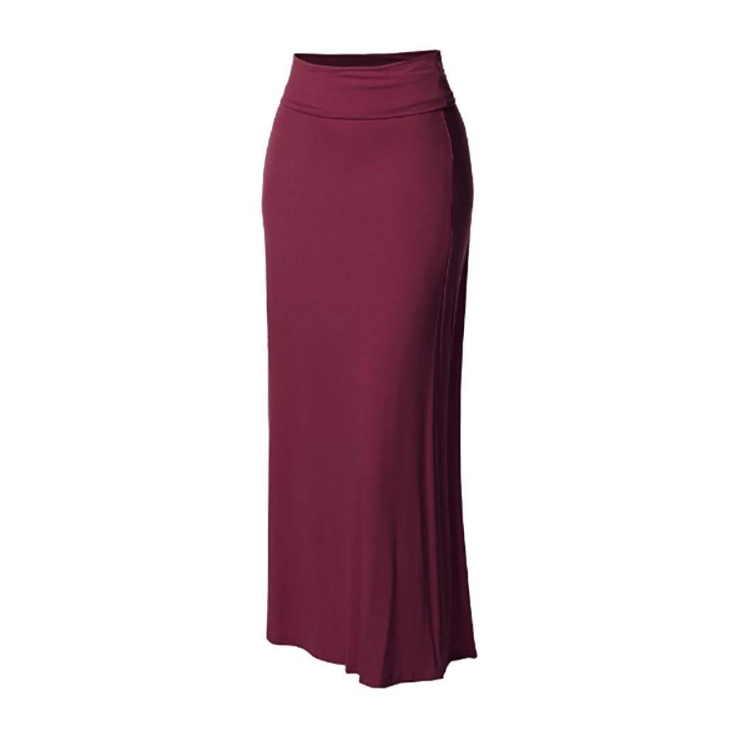 Verão Mulheres cor sólida cintura alta Comfort costura longa Maxi Skirt Women Casual lápis Andar de comprimento Moda Saia G0410 # 20 Y200326