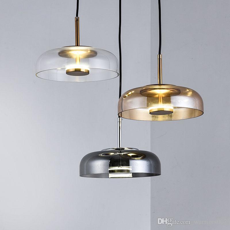نوبل LED أضواء قلادة مع زجاج عاكس الضوء على غرفة الطعام الحديثة قلادة مصباح مطعم ديكور المنزل تركيبات الإضاءة