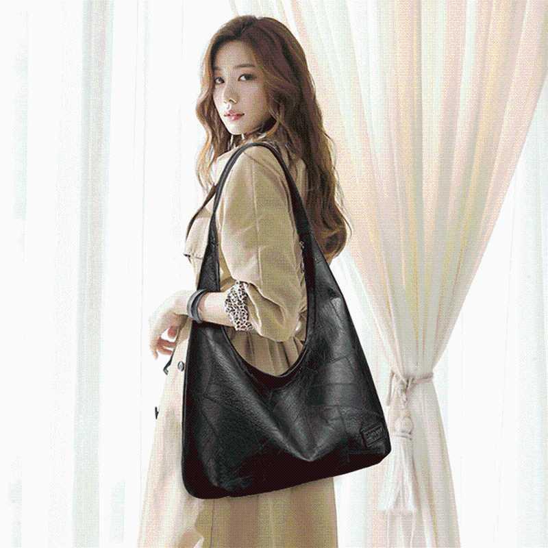Weinlese-Frauen bauschen sich große weibliche Schultertasche beiläufige weiche Patchwork PU-Leder-Big-Dame-Beutel-Qualitäts-Handtaschen
