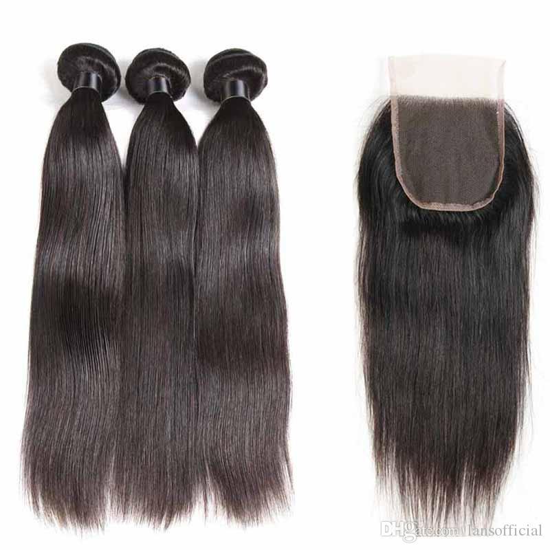 Malaisienne humaine Bundles cheveux avec dentelle fermeture droites 100% malaisienne Vierge cheveux Tissages Bundles Avec 4X4 Fermeture droite Remy Cheveux Trames